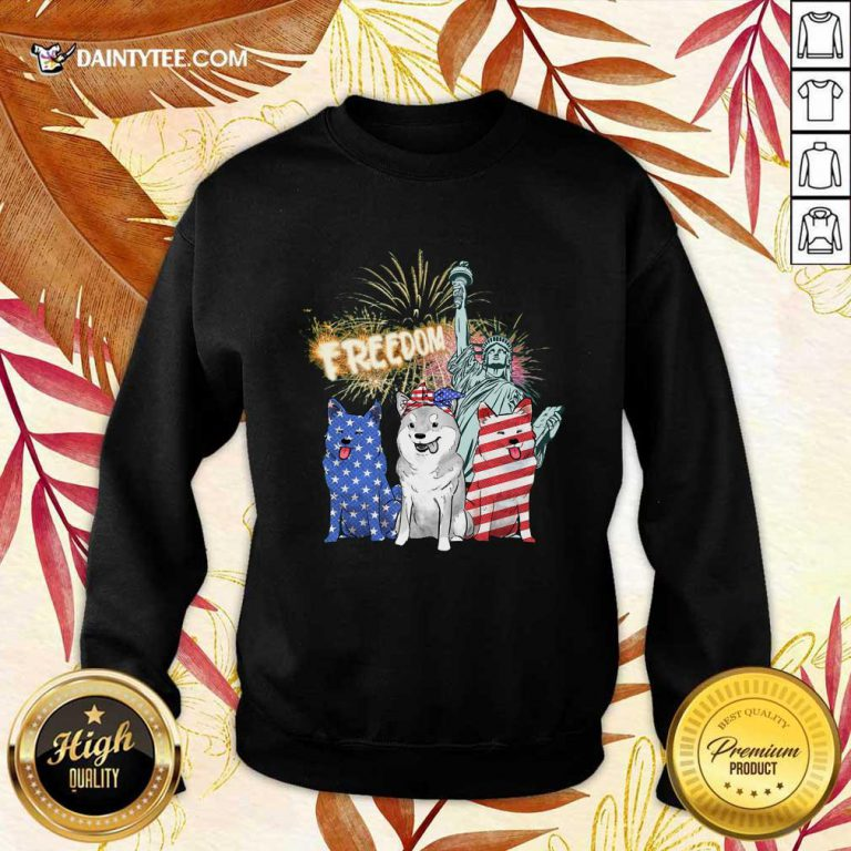 Freedom Shiba Inu Statue Of Liberty USA Flag Sweater