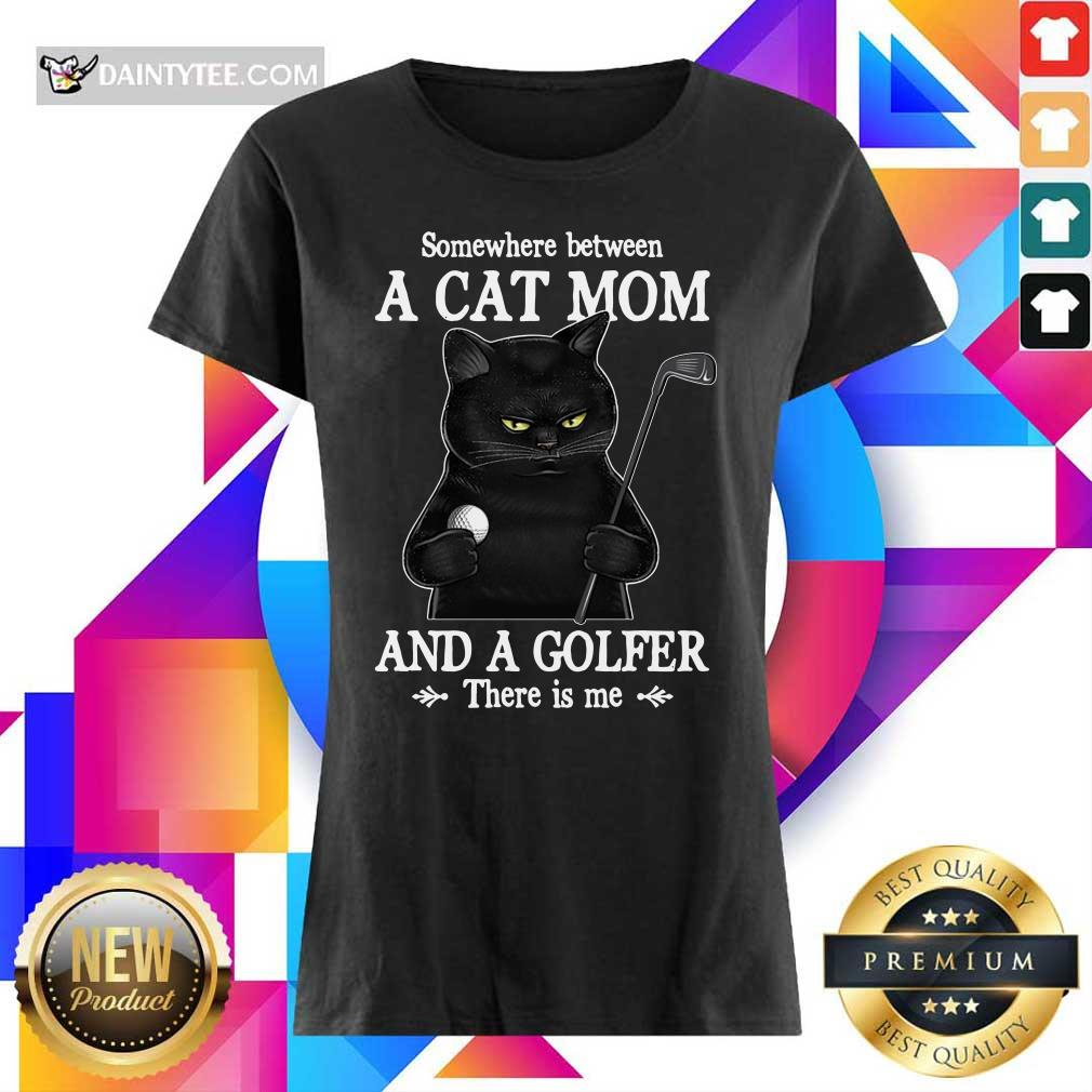 Black Cat Mom And A Golfer Ladies Tee
