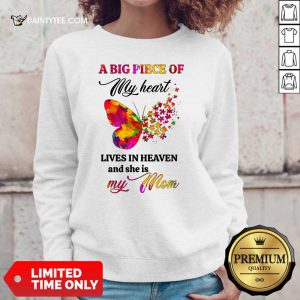 Butterfly A Big Piece Of My Heart Lives In Heaven And She Is My Mom Sweater
