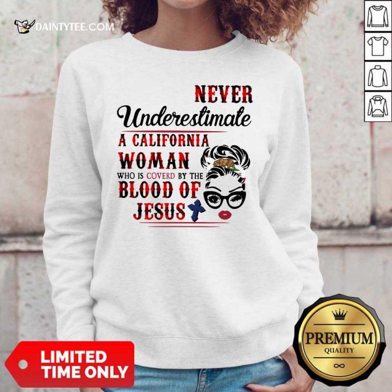California Woman Blood Of Jesus Sweater