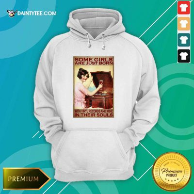 Girl With Vinyl Records And Wine Poster Hoodie