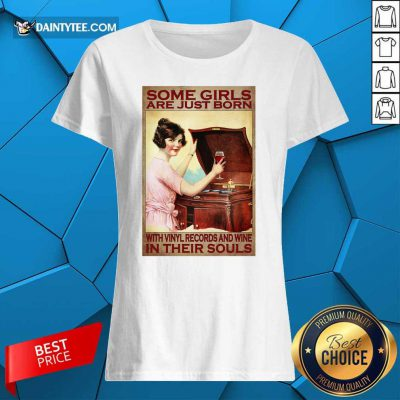 Girl With Vinyl Records And Wine Poster Ladies Tee