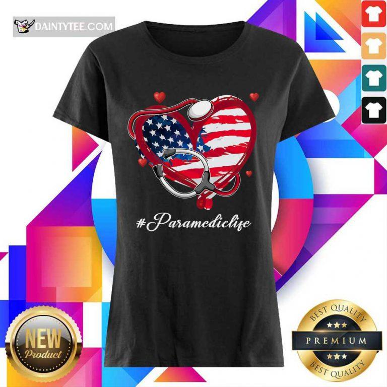 Heart American Flag Paramedic Ladies Tee
