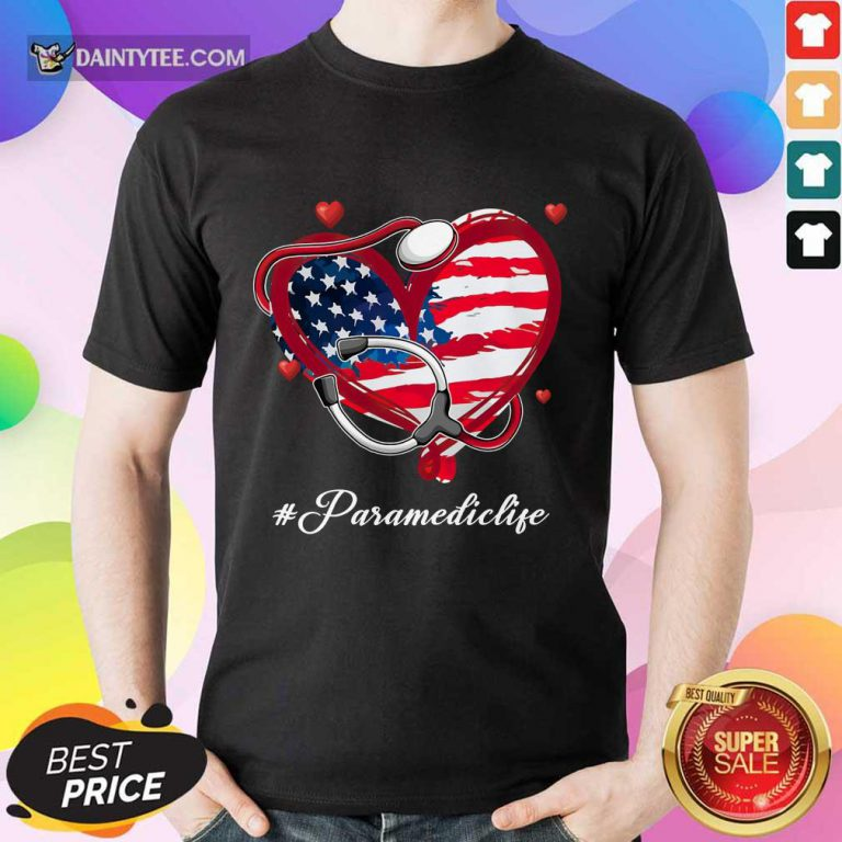 Heart American Flag Paramedic Shirt