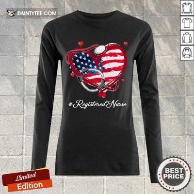 Heart American Flag Registered Nurse Long-sleeved