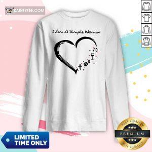 Heart I Am A Simple Woman Softball Wine Paw Cross Long-sleeved