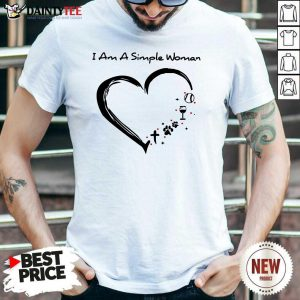 Heart I Am A Simple Woman Softball Wine Paw Cross Shirt