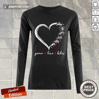 Heart Peace Love Biker Long-sleeved