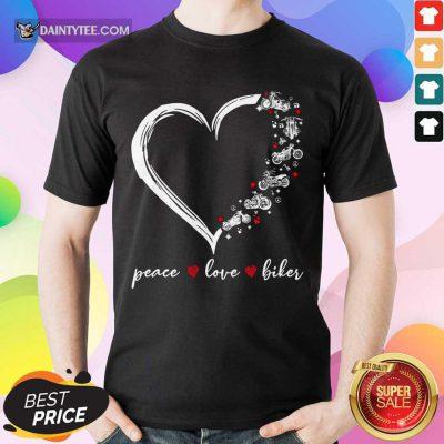 Heart Peace Love Biker Shirt