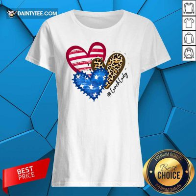 Heart USA Leopard Lunch Lady Ladies Tee