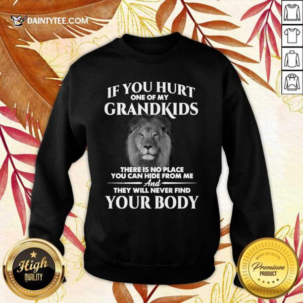 Lion If You Hurt One Of My Grandkids There Is No Place You Can Hide From Me Sweater