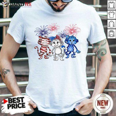 Monkey Firework American Flag Shirt