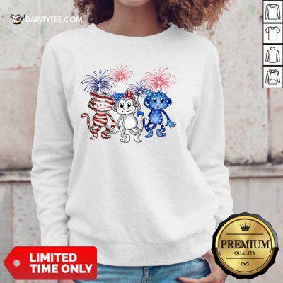 Monkey Firework American Flag Sweater