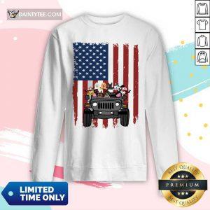 Jeep Dog Carrier I Love America Flag Long-sleeved
