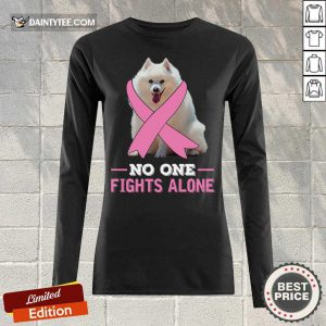 Miniature American Eskimo No One Fights Alone Breast Cancer Awareness Long-sleeved
