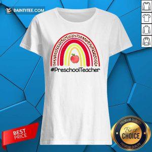 Rainbow Apple Preschool Teacher Ladies Tee